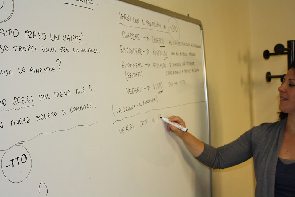 Teacher Nadia in an Italan grammar class in Florence