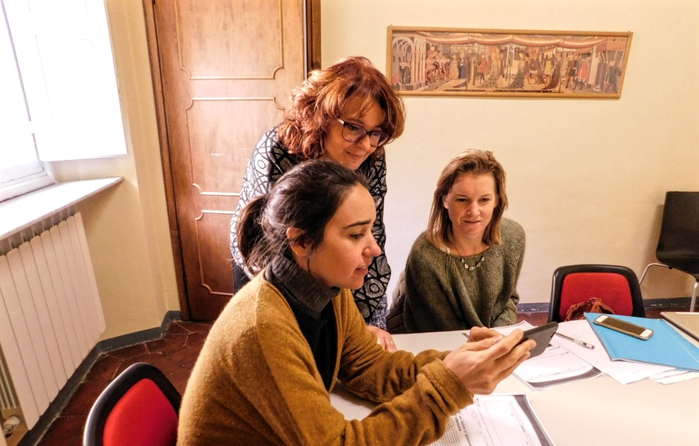 Girls in an Italian language class in Florence