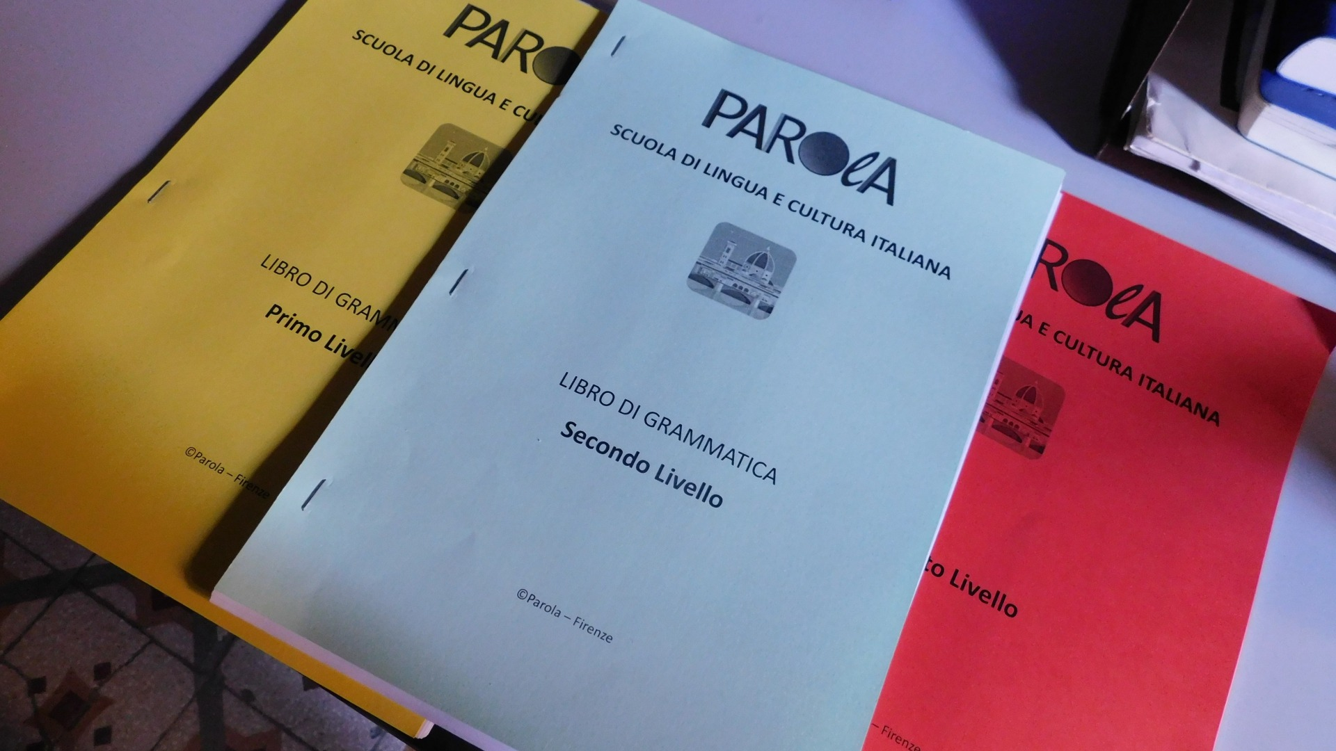 Grammar level books of Parola Italian language school
