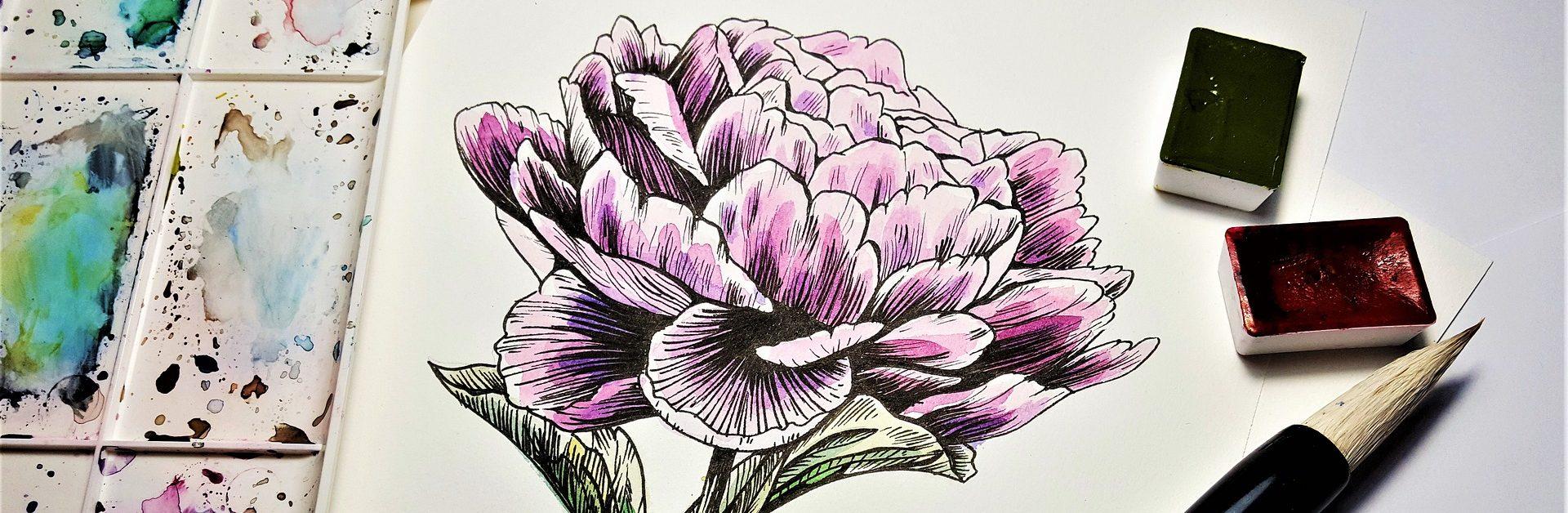 Acquerello con fiori