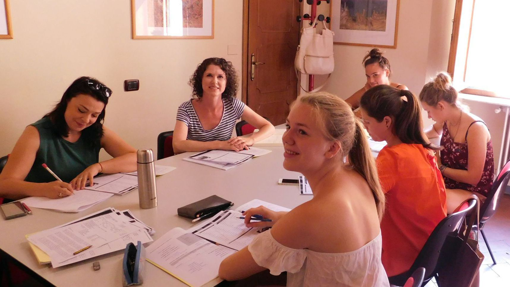 Italian language students in Florence in conversation